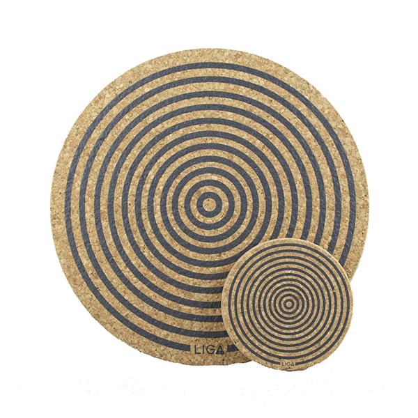 Grey orbit cork placemat