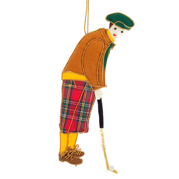 Gentleman golfer fabric beaded decoration