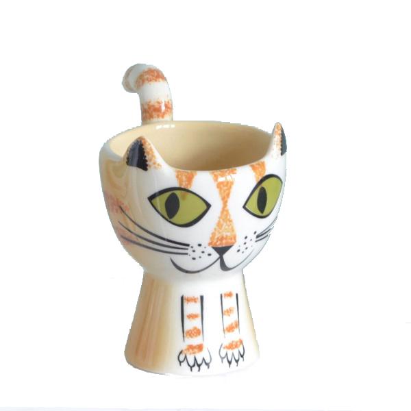 Ginger cat ceramic egg cup