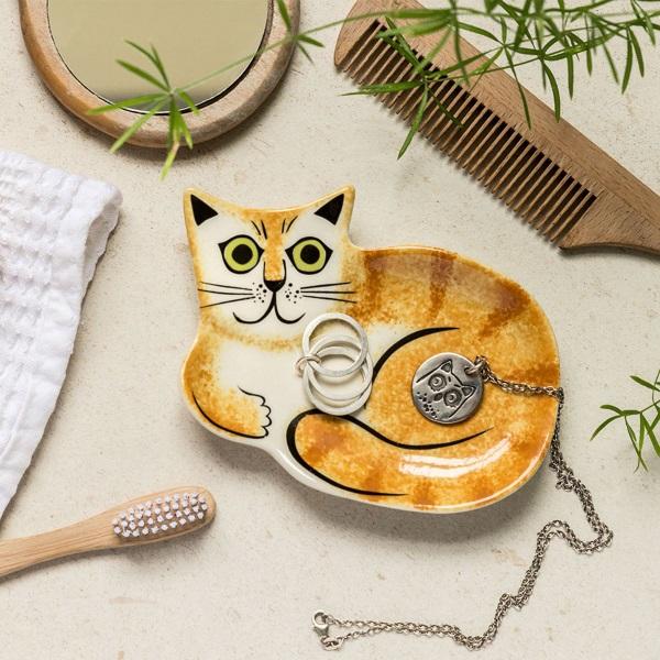 Ginger cat ceramic trinket dish