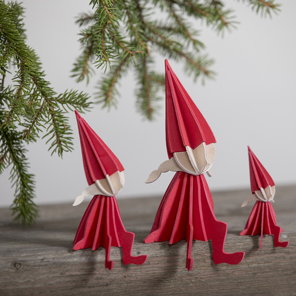 Bright red girl elf wooden flat pack Christmas decoration kit (8cm)