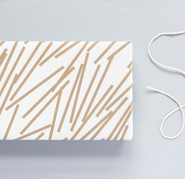 Gold lines geometric gift wrap (single sheet)