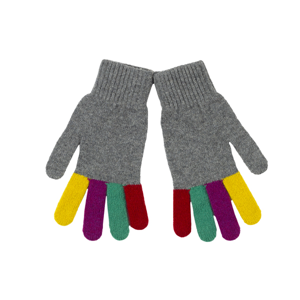 100% pure new wool grey and colour finger gloves