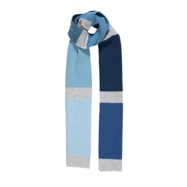 100% pure new wool palette aqua stripe pattern scarf