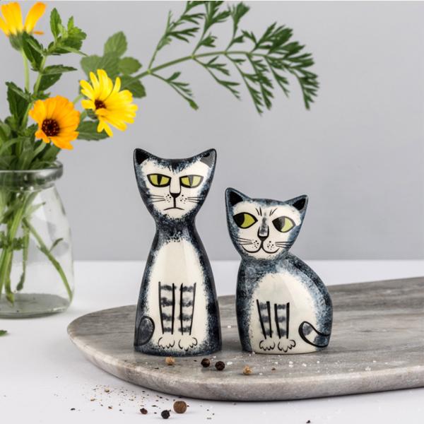 Grey tabby cat ceramic salt and pepper shaker set