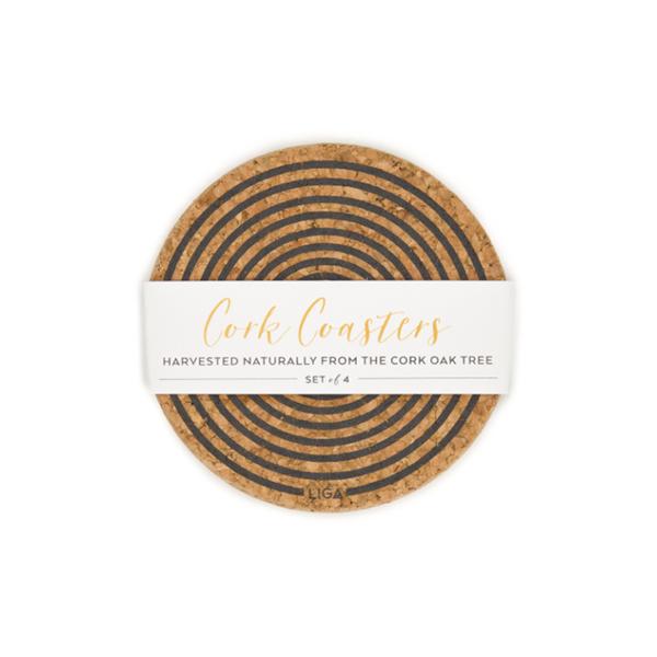 Grey orbit cork coaster set