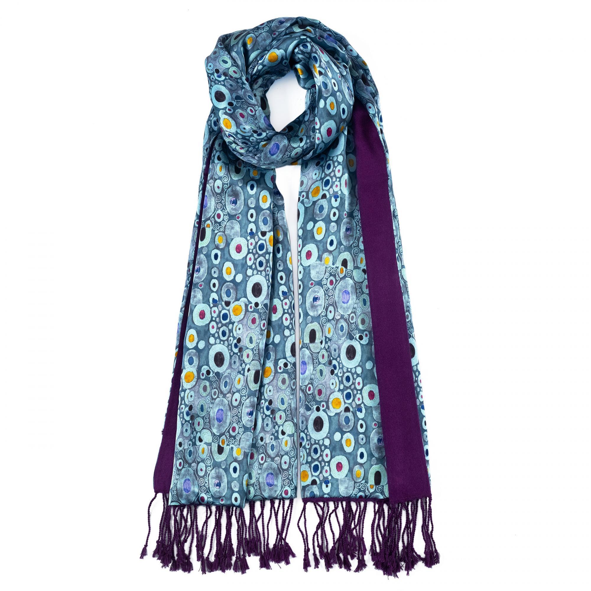 Gustav Klimt turquoise satin stole