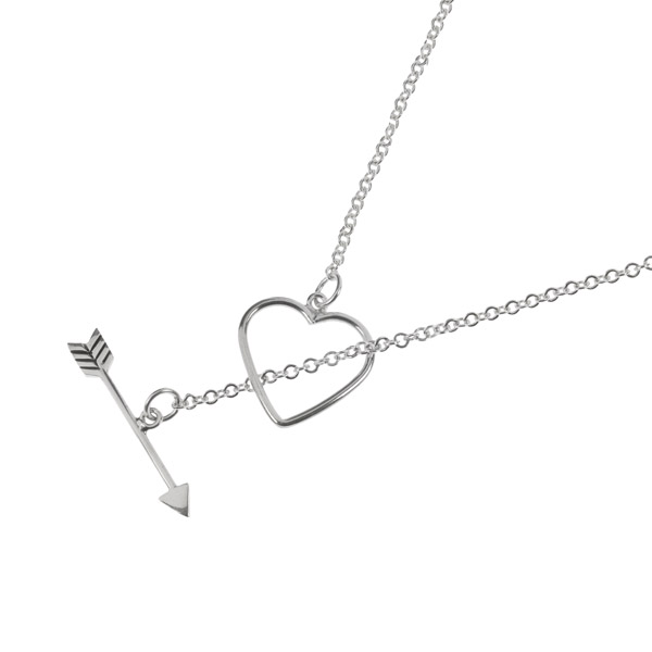 Heart and arrow silver necklace