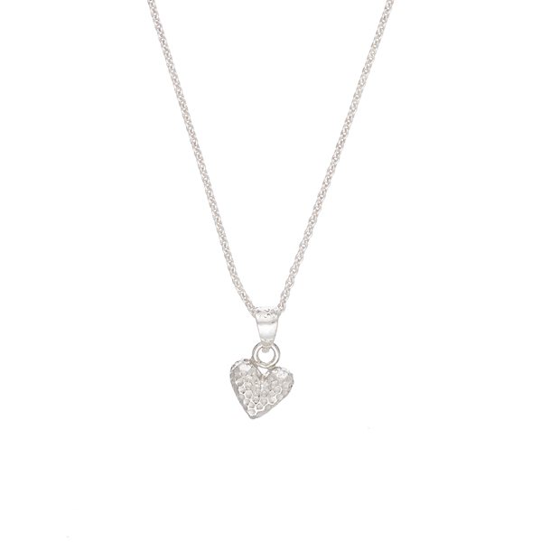 Heart shaped hammered silver pendant
