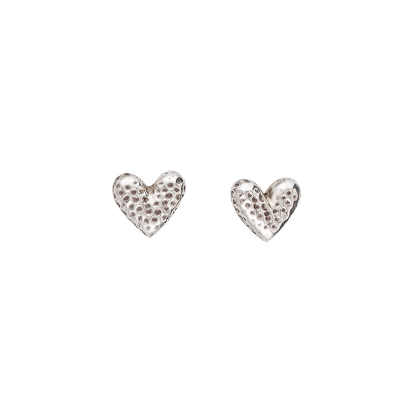Heart shaped hammered silver stud earrings