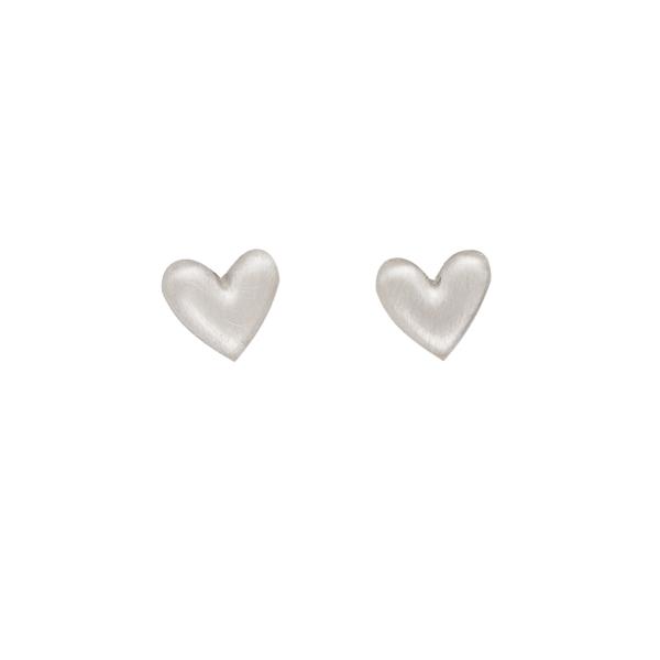 Heart shaped matt silver stud earrings