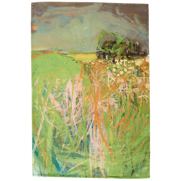 Hedgerow with grasses and flowers by Joan Eardley tea towel