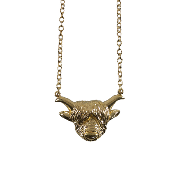 Highland cow gold plated pendant