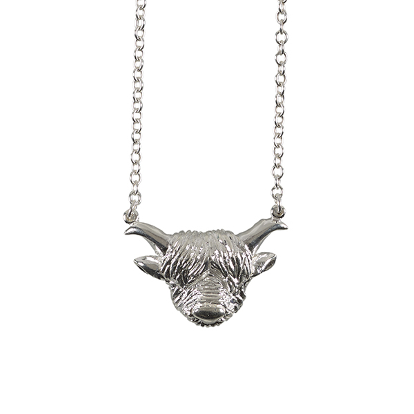 Highland cow sterling silver pendant