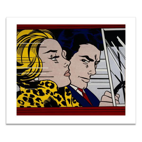 In the car by Roy Lichtenstein greeting card