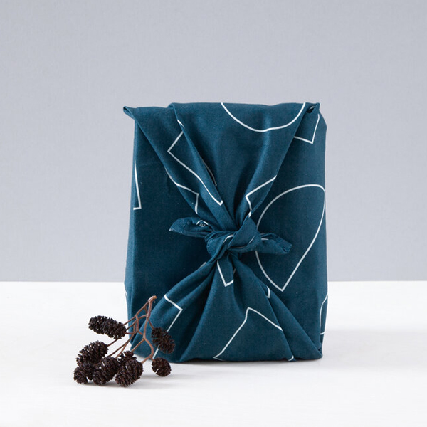 Indigo geometric reusable organic cotton gift wrap