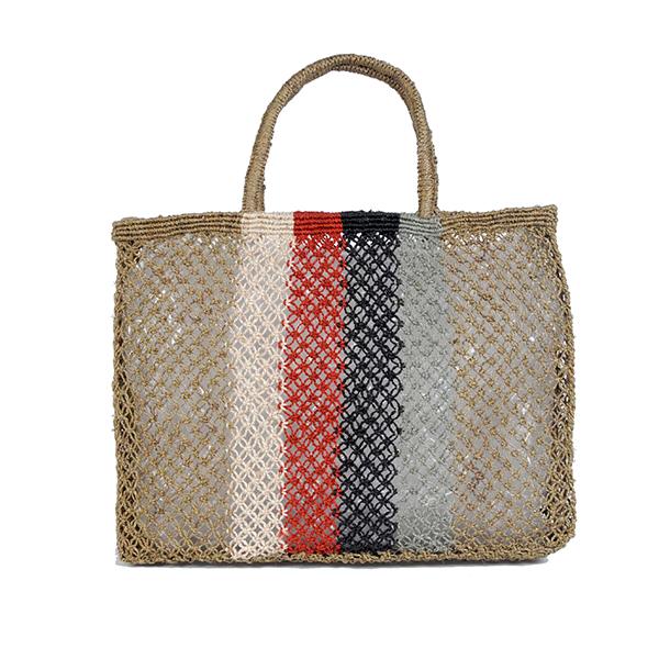 Jute macrame shopper with vertical stripes