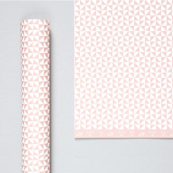 Kaffe clay pink geometric gift wrap (single sheet)