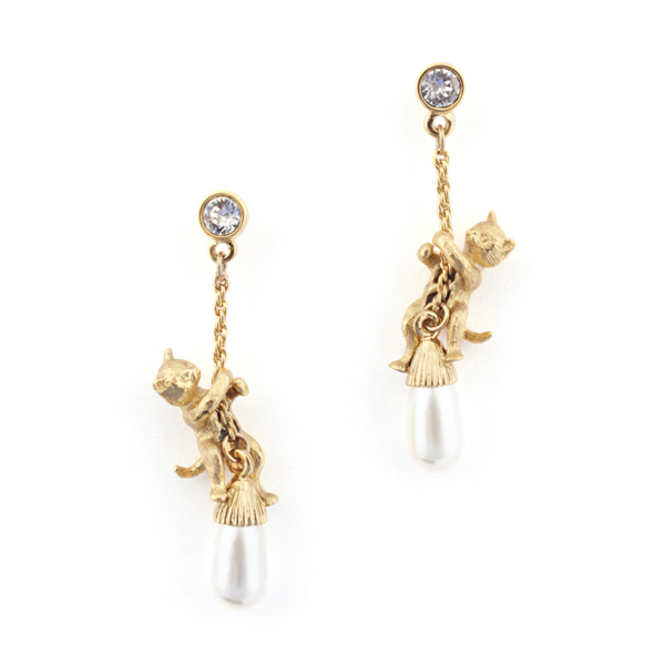 Bill Skinner Kitten & Pearl Drop Earrings