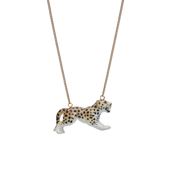 Leaping leopard porcelain necklace