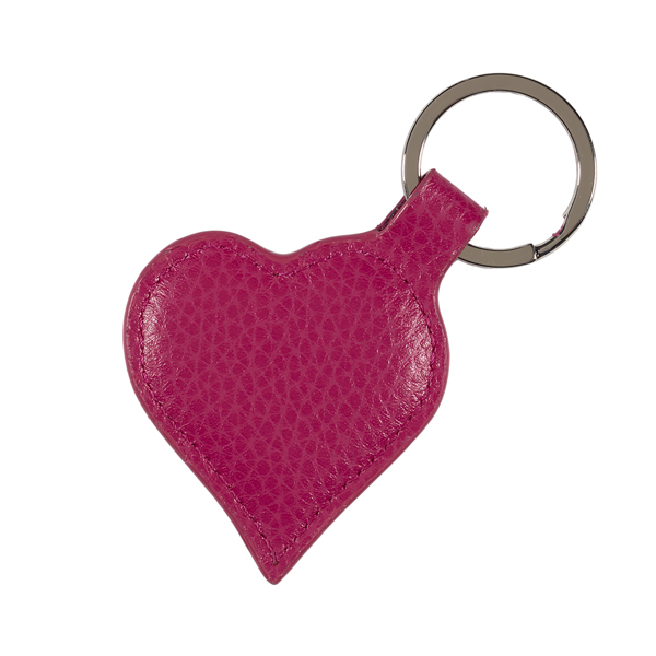 Fuchsia pink leather heart key ring