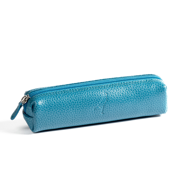 Embossed turquoise leather pencil case