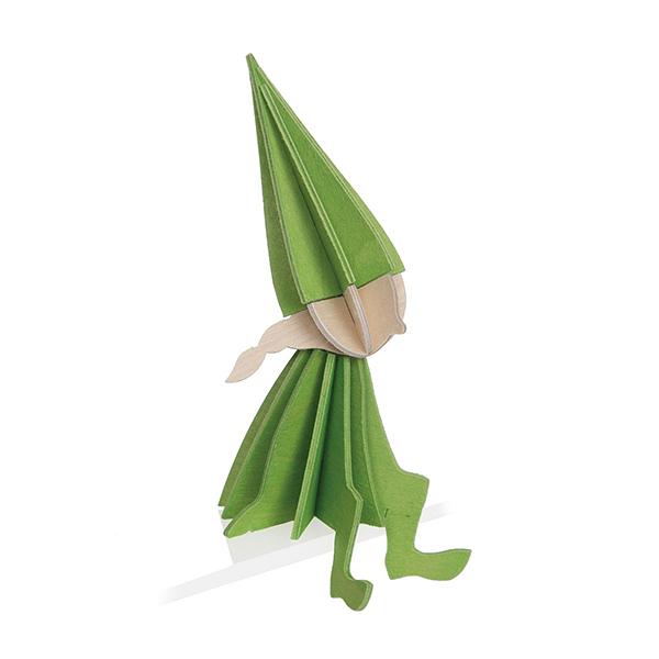 Light green elf girl wooden flat pack decoration kit (8cm)