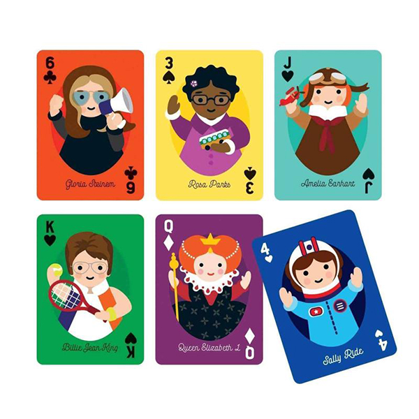 Little feminist illustrated playing cards
