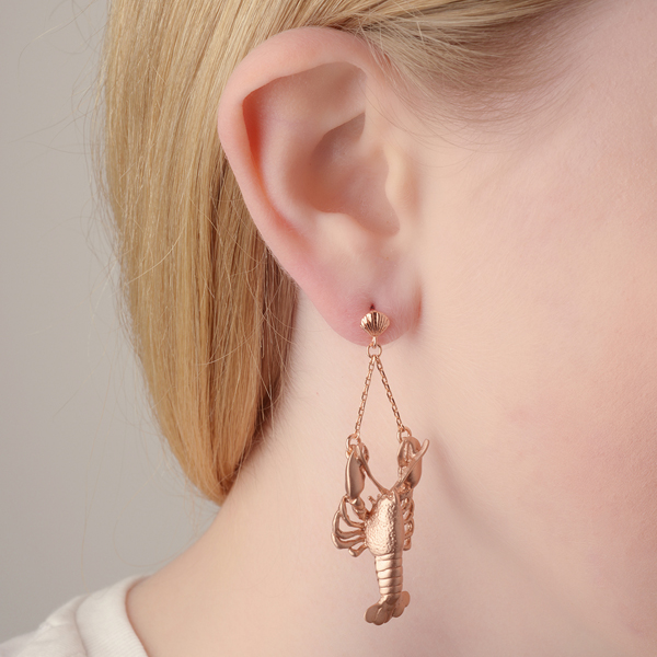 Lobster rose gold plated drop earrings
