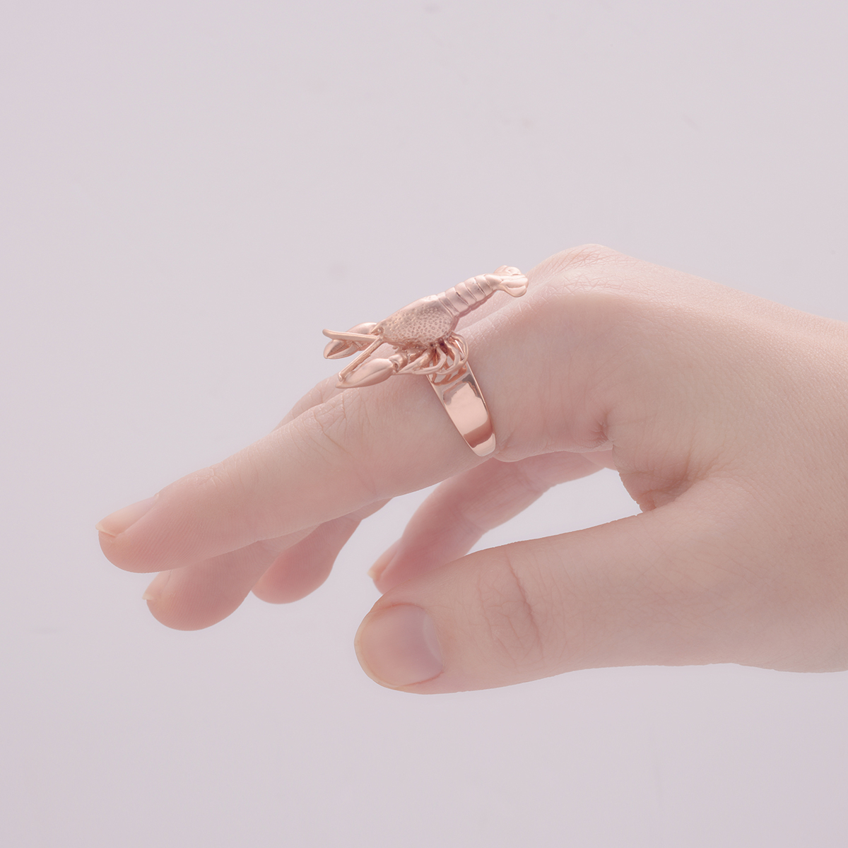 Lobster rose gold plated one size ring