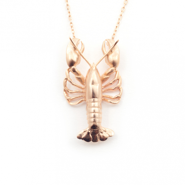 Lobster rose gold plated pendant necklace