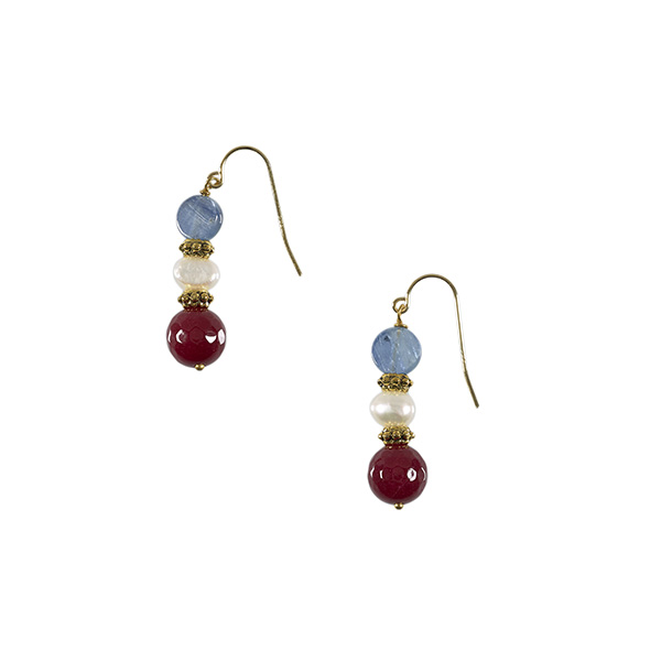 Kyanite, jade with brass and white pearl drop earrings