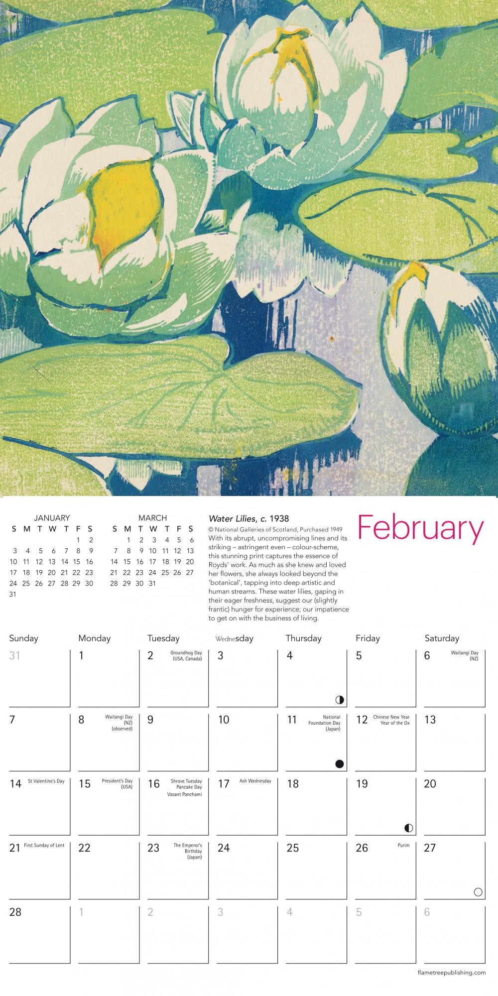 Pre-order Mabel Royds 2021 mini wall calendar