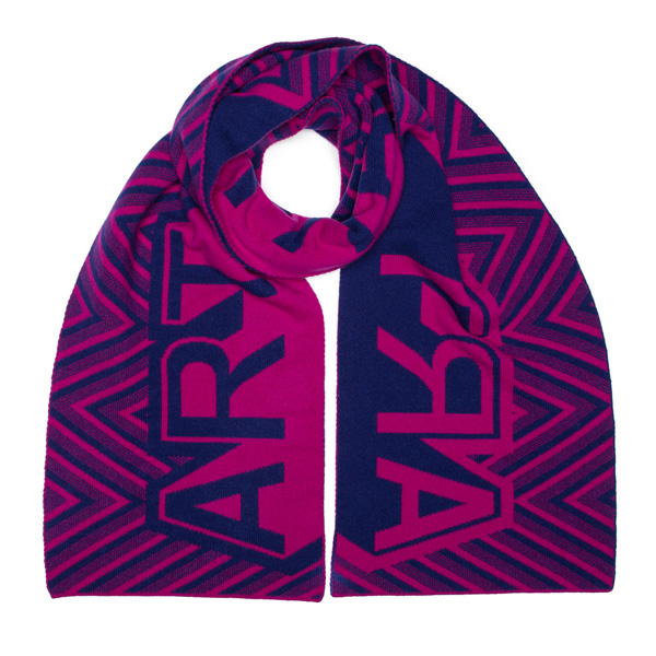 Magenta and blue art lambswool blanket scarf