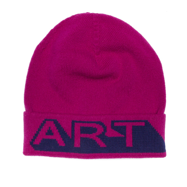 Magenta and blue art lambswool hat