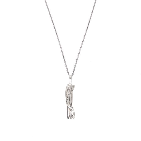 Melt rectangular silver pendant
