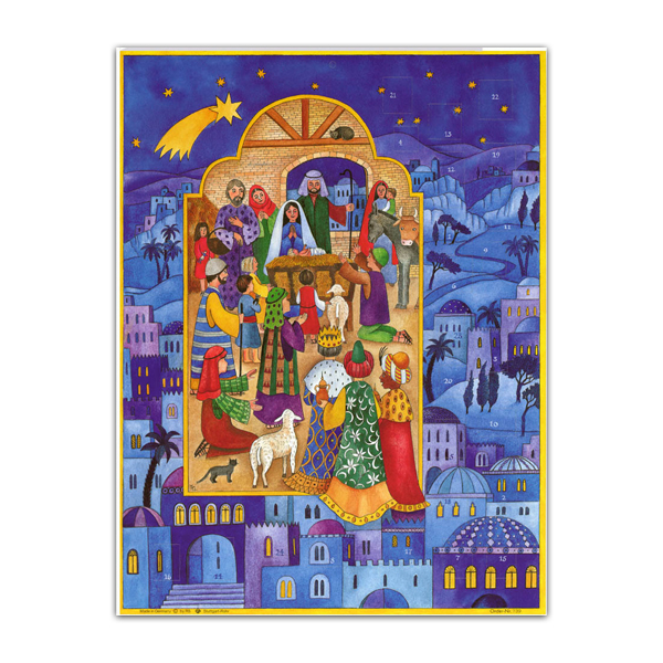 Mini advent calendar greeting card with Bethlehem nativity scene