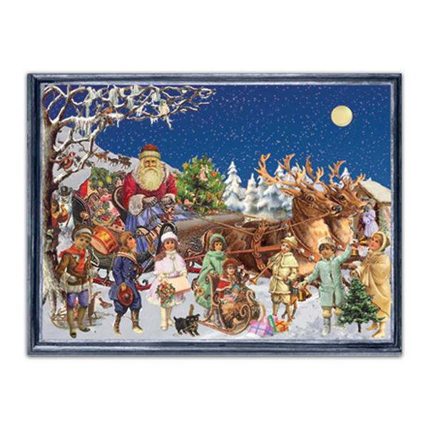 Mini advent calendar greeting card with a Victorian Santa's sleigh scene