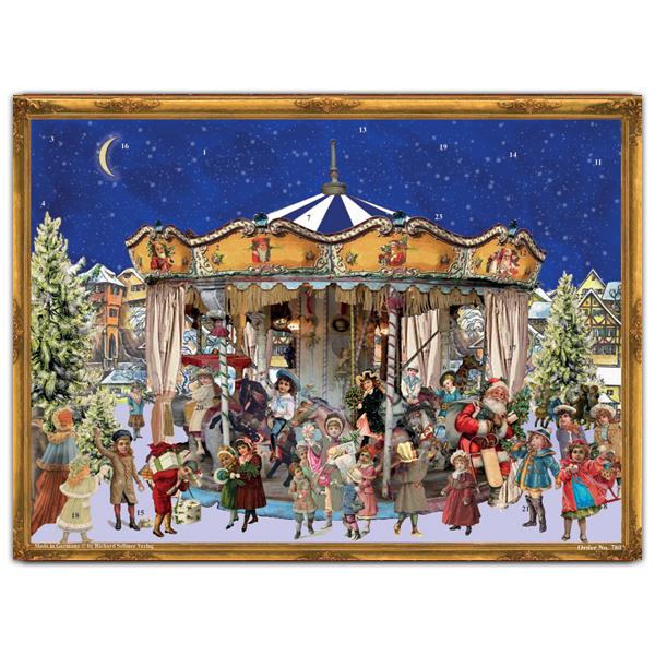 Mini advent calendar greeting card with carousel