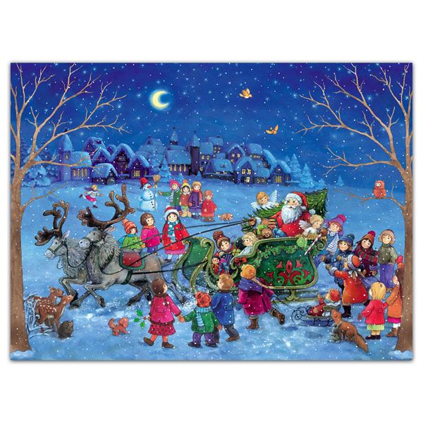 Mini advent calendar greeting card with children around Santa's sleigh
