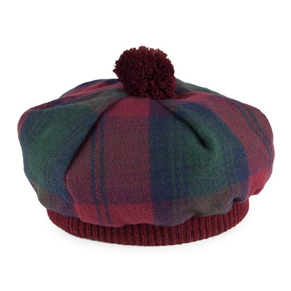 Modern Lindsey red and green tartan wool tam hat