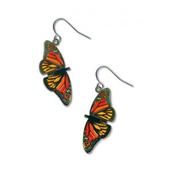 Monarch butterflies drop earrings