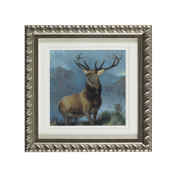 Monarch of the Glen ready to hang silver ornate framed print