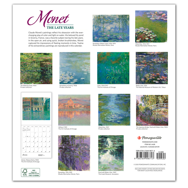 Monet: The Late Years 2021 wall calendar