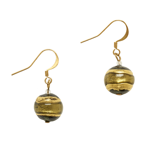 Murano Glass Berenice Black Drop Earrings