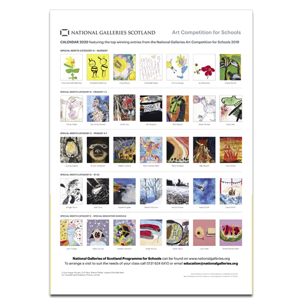 National Galleries of Scotland art competition for schools 2020 calendar