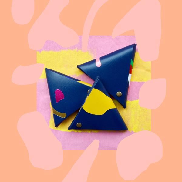 Navy blue samosa leather coin purse