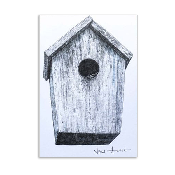 New home bird box by Hannah Longmuir greeting card