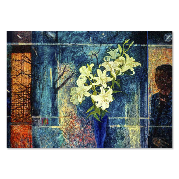 November window reflecting by Victoria Crowe greeting card