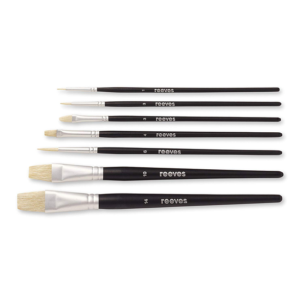 Pack of seven oil paint brushes
